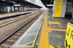 鶴橋駅のホームドア工事、外回りホームにも変化が(6月編)