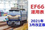 ダイヤのメモ:EF66の運用表(2021年3月改正版)